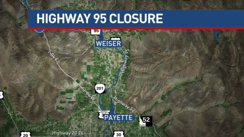 Traffic Alert: Section of Highway 95 closed Wednesday morning due to