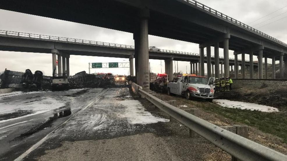 One killed after semi truck falls from freeway overpass | KBOI